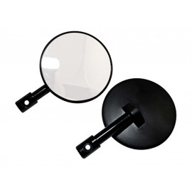 Mirror for H/bar-end, round, black, pair, E-mark