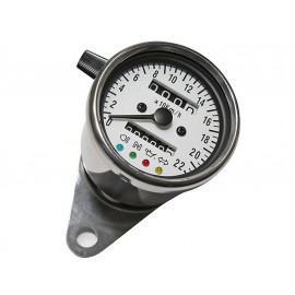 P&W Speedometer Stainless Steel 60mm with Tripmeter (white/blue)