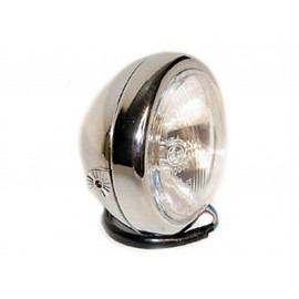 P&W Headlight 4 1/2 Inch with Bilux Bulb side Mount (chrome)